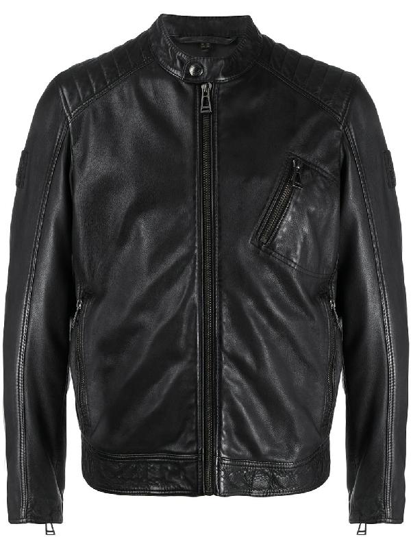 Belstaff V-racer 2.0 Tumbled Leather Jacket In Black