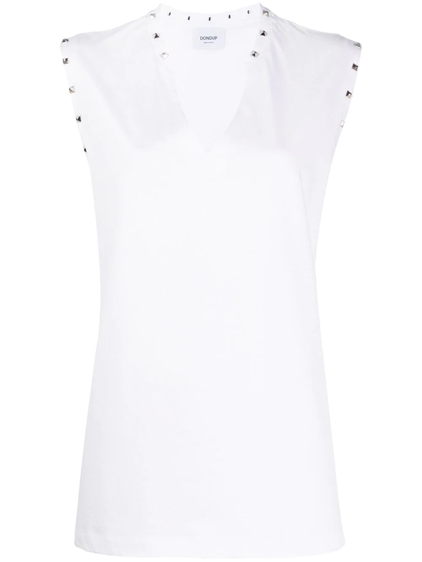 Dondup Studded Cotton Tank Top In White