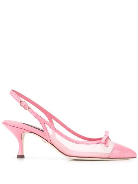 Dolce & Gabbana Leather And Mesh Lori Slingback Heels 60 In Pink