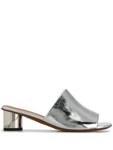 Clergerie Women's Lea Metallic Leather Mules In Silver