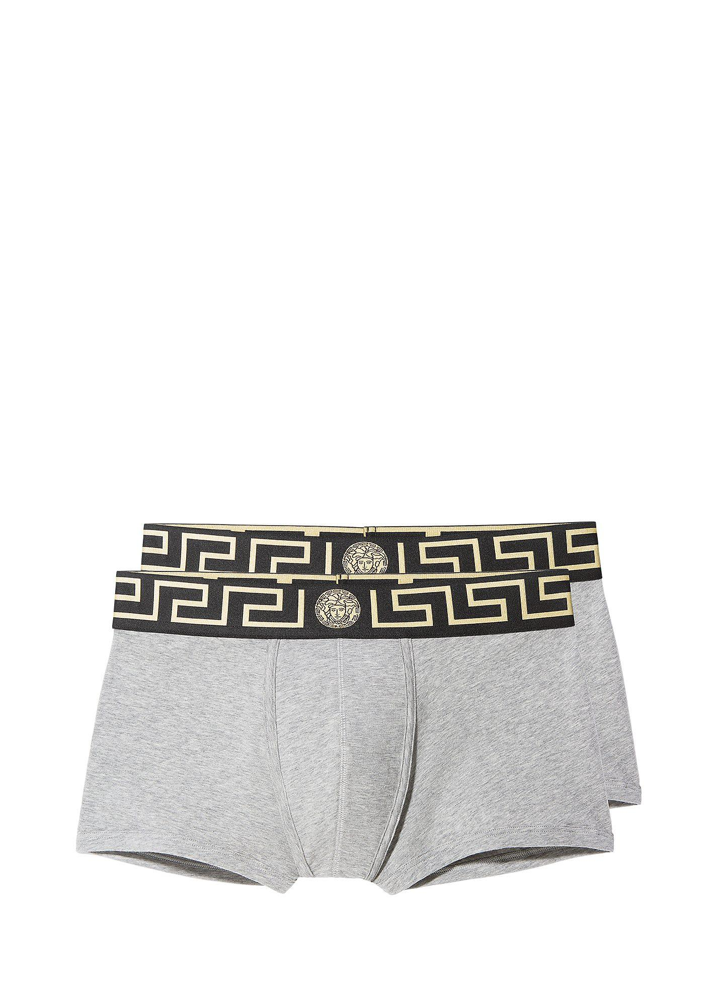 f94480321c64 Versace Boxer Brief Bi-Pack In Gray Gold Greca | ModeSens