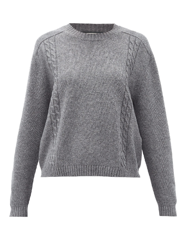 Gucci Cable-knit Wool Sweater In Grey Multi