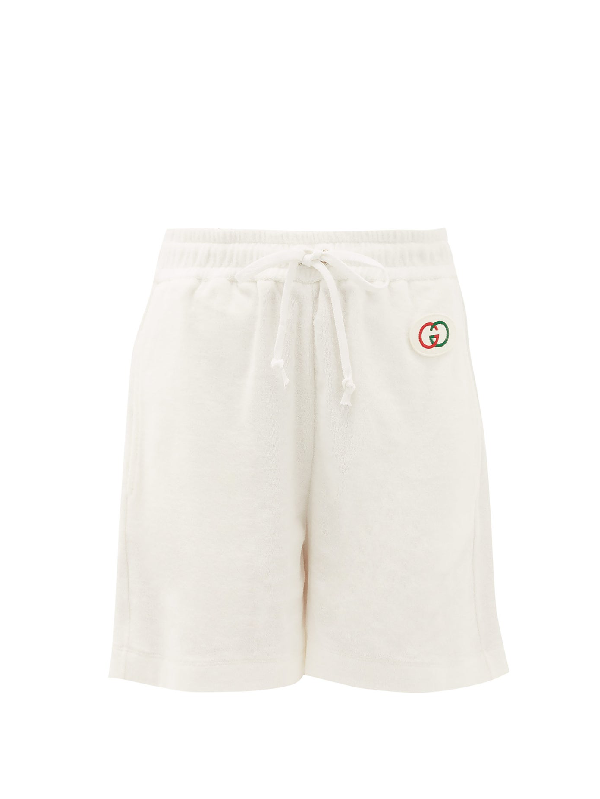 Gucci Logo Patch Cotton-terry Shorts In Ivory