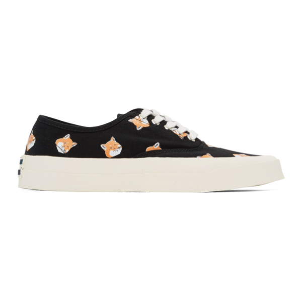 Maison Kitsuné Maison Kitsune Black Allover Fox Head Sneakers