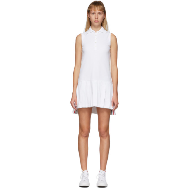 Thom Browne Mini Pleated Cotton PiquÈ Tennis Dress In 100 White