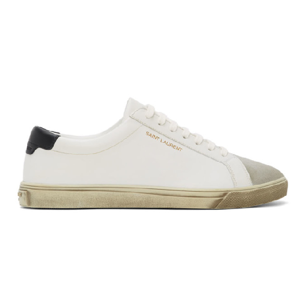 Saint Laurent Andy Distressed Suede-trimmed Leather Sneakers In 9668bloppar