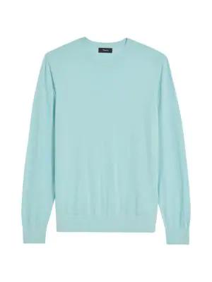 Theory Men's Wool Pullover In Seafoam