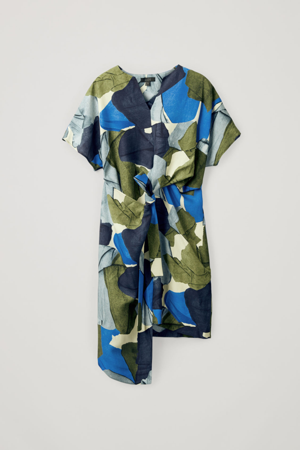 Cos Printed Linen-mix Dress In Blue