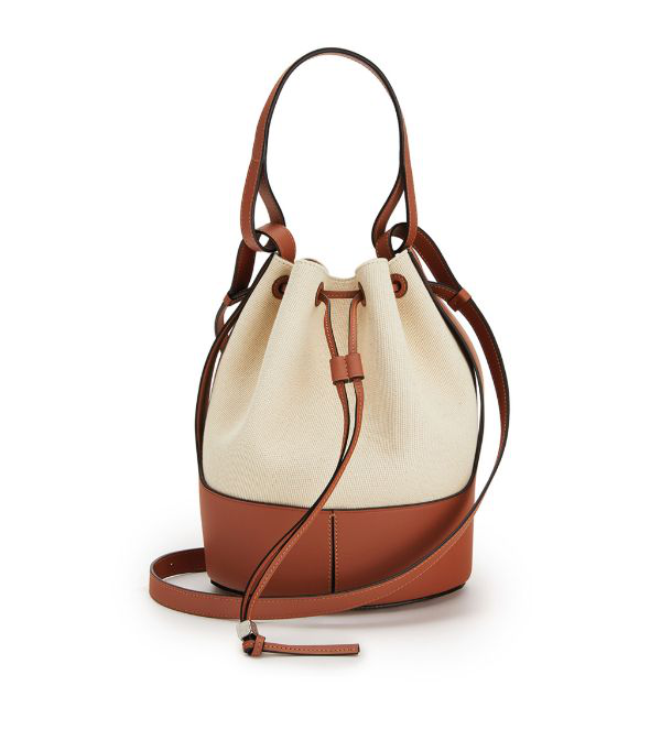 Loewe Small Balloon Woven Cotton & Leather Bucket Bag In Brown ,neutral