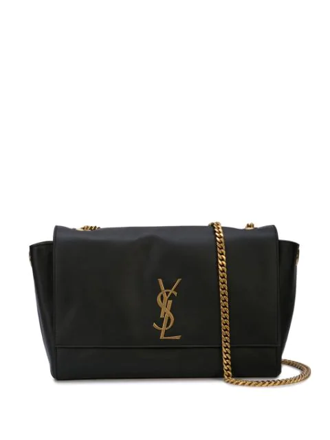 Saint Laurent Kate Reversible Leather And Suede Shoulder Bag In Black ,gold