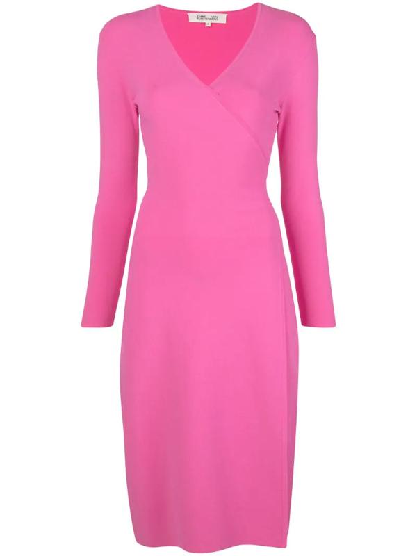 Diane Von Furstenberg Cassidy Fuchsia Stretch-knit Wrap Dress In Pink