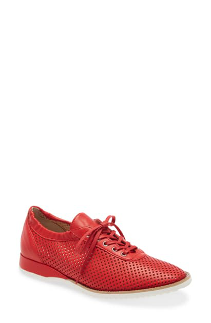 Amalfi By Rangoni Ethan Perforated Sneaker In Scarlatto Leather