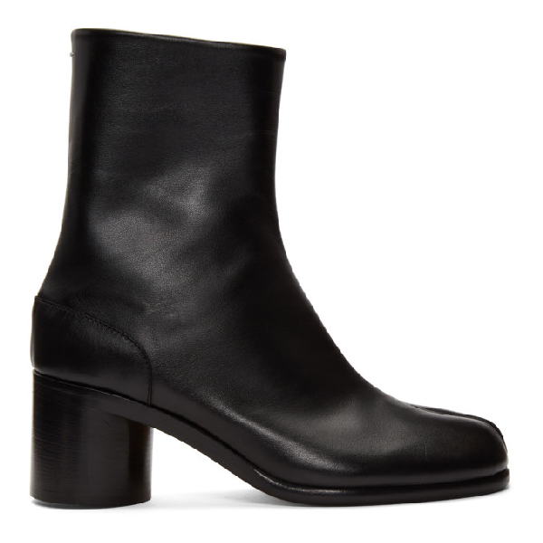 Maison Margiela Tabi Low Heels Ankle Boots In Black Leather