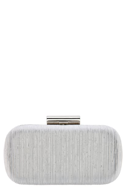 Nina Elaine Metallic Striped Minaudiere In Silver