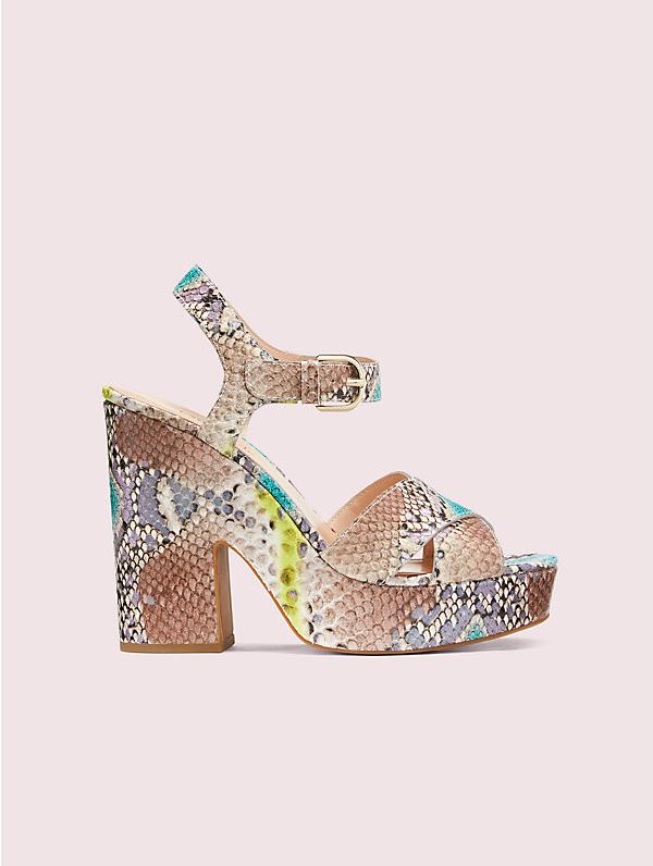 Kate Spade Grace Snakeskin-embossed Leather Platform Sandals In Lemon Sorbet