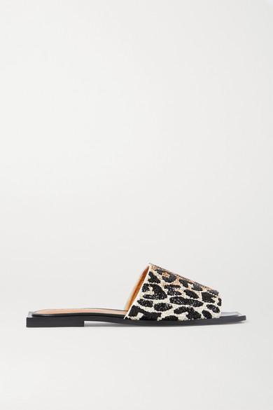 Ganni Embellished Leopard-print Mules In Leopard Print