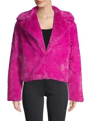 C California Faux Fur Jacket In Hot, Hot Pink Faux Fur Coat Long