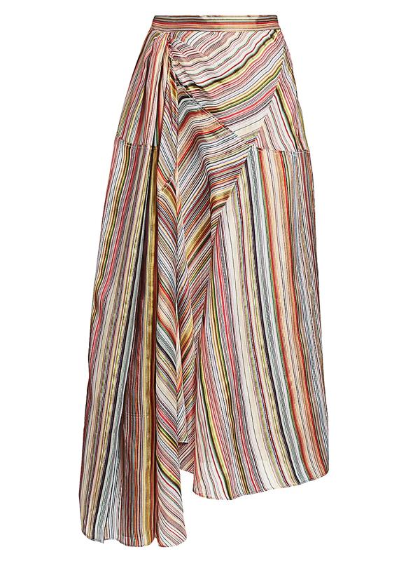 Rosie Assoulin Women's Asymmetric Striped Stretch-silk Skirt In Rainbow
