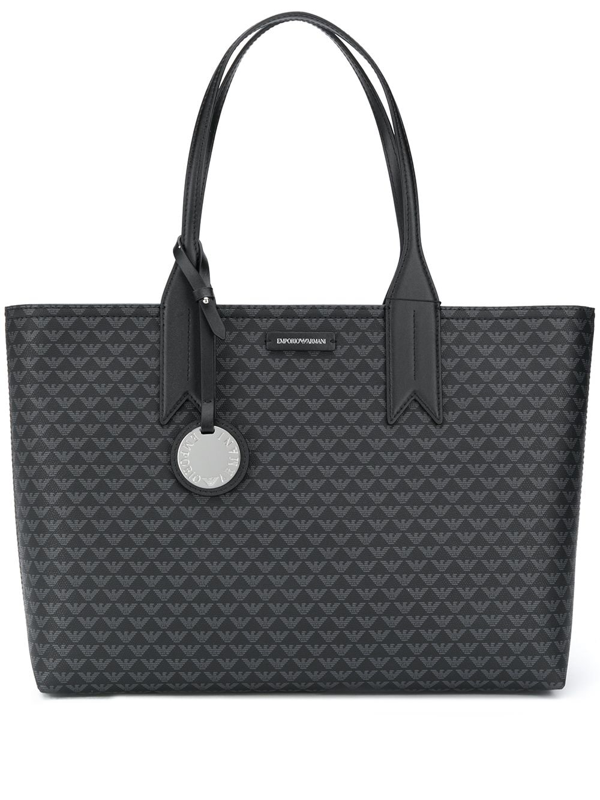 Emporio Armani Shopper Bag With All Over Logo In Black