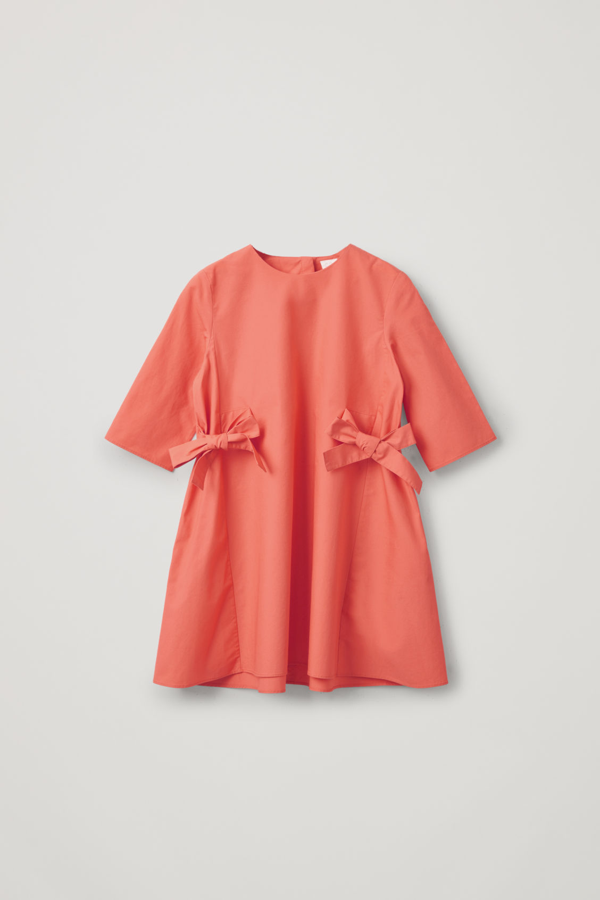 Cos Kids' Cotton Dress With Bows In Orange