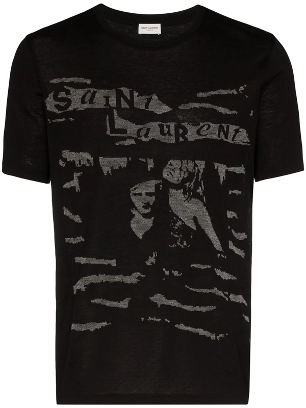 Saint Laurent Col Rond Short Sleeve T-shirt In Black