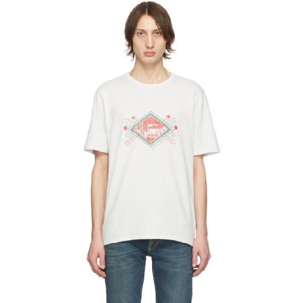 Saint Laurent Graphic-print Cotton-jersey T-shirt In 9776drtecru