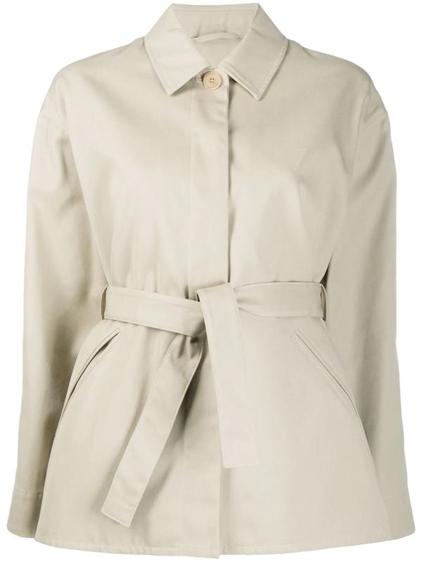 Filippa K Short Belted Mac Jacket In Neutrals