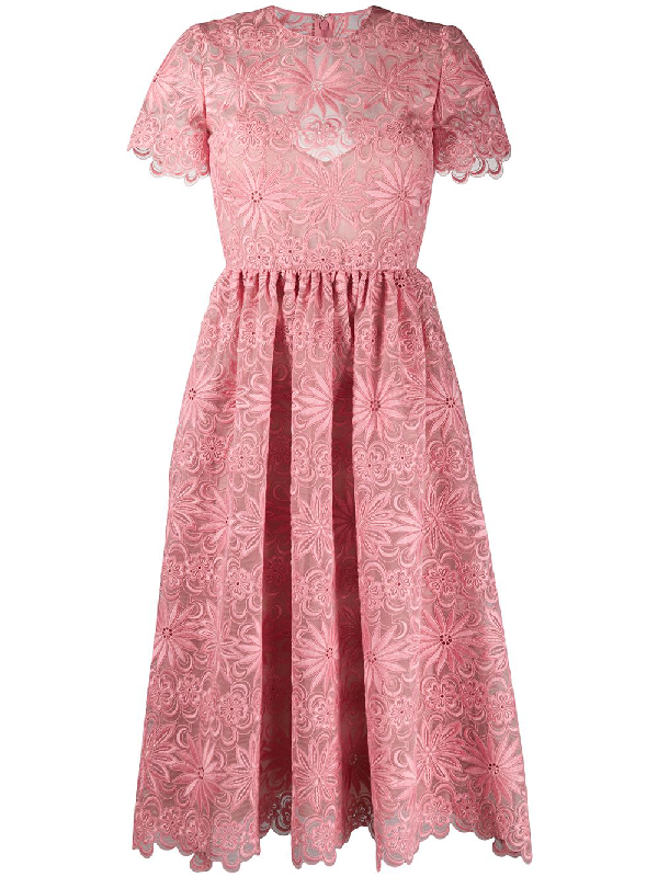 Valentino Floral Embroidery Midi Dress In Pink