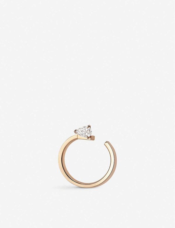 Repossi Women's Serti Sur Vide 18k Rose Gold & Diamond Single Right Hoop Earring
