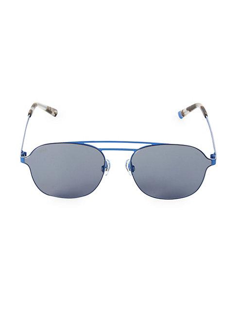 Web Round 58mm Metal Aviator Sunglasses In Light Blue