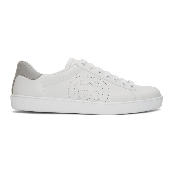 Gucci White & Grey Interlocking G New Ace Sneakers