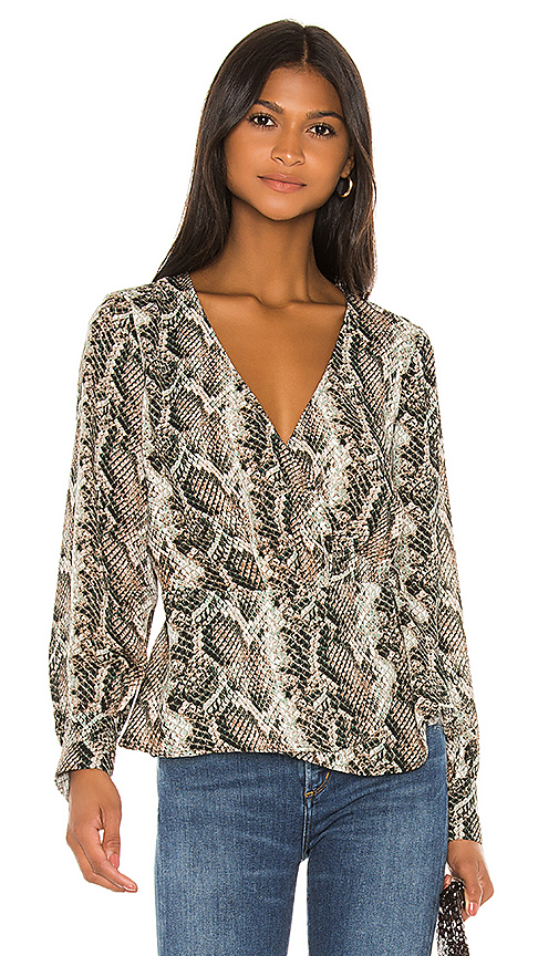 Cupcakes And Cashmere Jasper Long Sleeve Wrap Top In Deep Forest