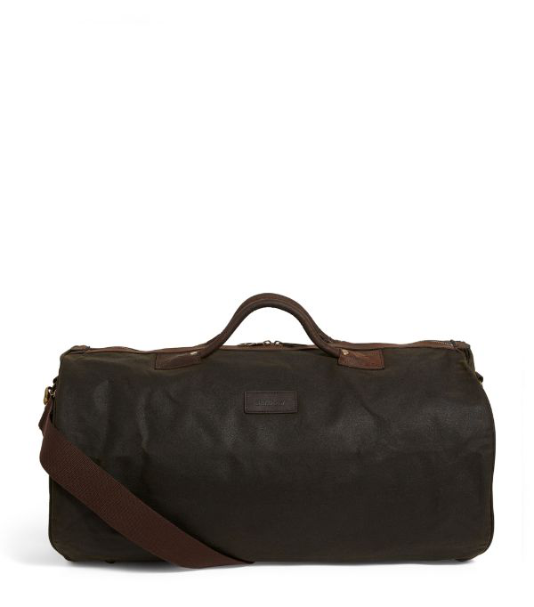 Barbour Waxed Cotton Holdall In Green