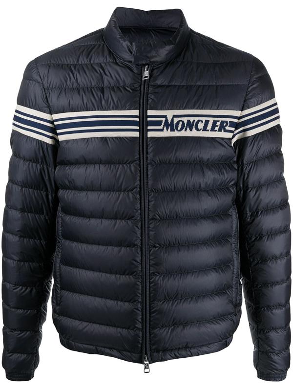 Moncler Logo Stripe Padded Jacket In Blue