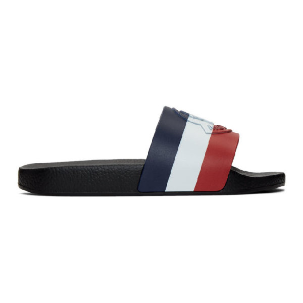 Moncler Logo-embossed Striped Rubber Slides In Black