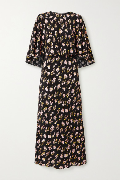 Les Rêveries Convertible Floral-print Silk Maxi Dress In Black