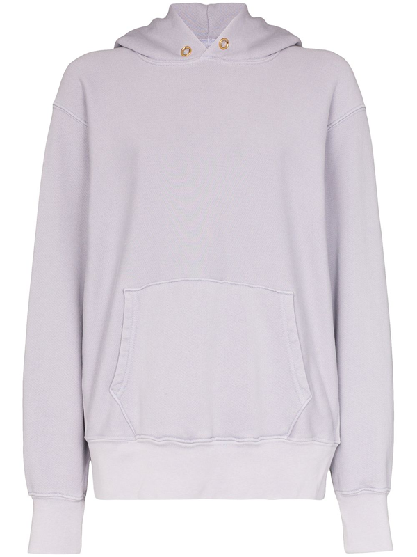 Les Tien Cropped Cotton-jersey Hoodie In 紫色