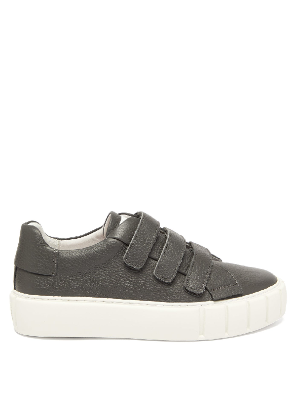 Primury Scratch Velcro-strap Leather Trainers In Grey
