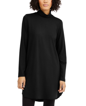 Eileen Fisher Turtleneck Tunic Sweater In Black