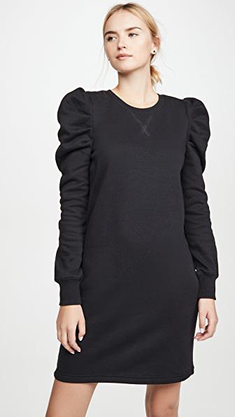 Rebecca Minkoff Janine Gathered Cotton-blend Fleece Mini Dress In Black