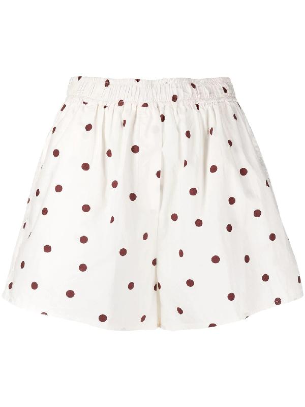 Ganni High-rise Polka-dot Cotton Poplin Shorts In White