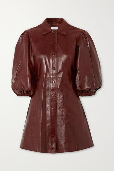 Ganni Balloon-sleeve Leather Mini Shirt Dress In Brown
