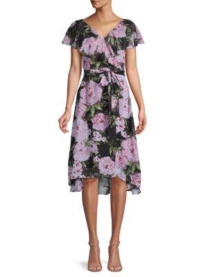 Julia Jordan Floral Print Clip Dot Chiffon Dress In Black