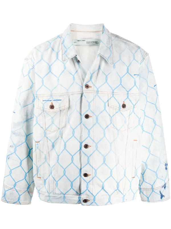 Off-white Oversized Printed Bleached Denim Jacket In Blue