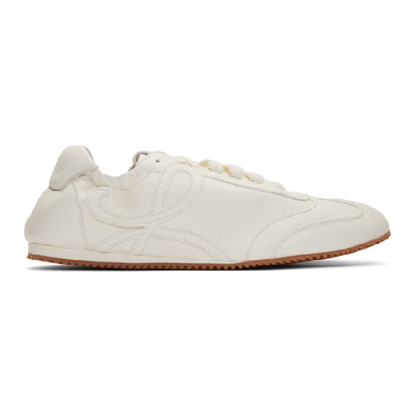 Loewe Ballet Runner Leather And Suede Sneakers In 2006 White/