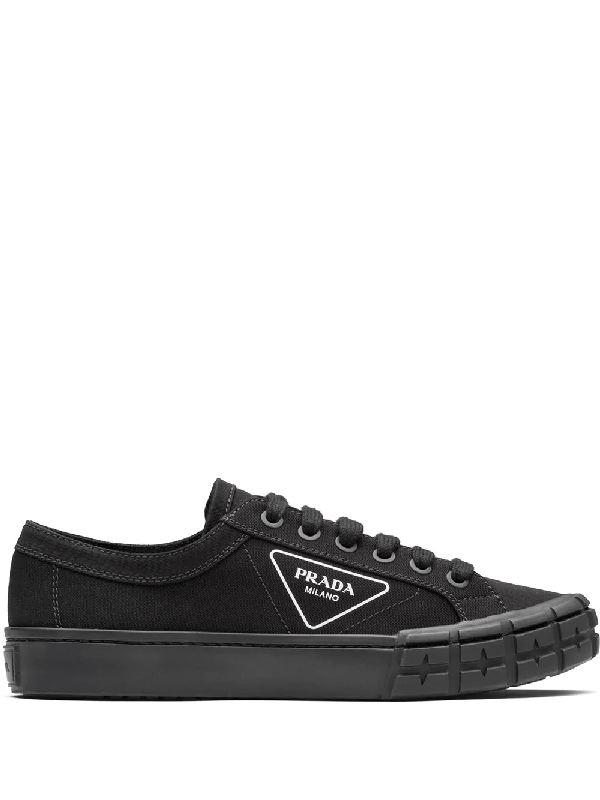 Prada Laced Sneakers Low Top Lateral Logo In Black