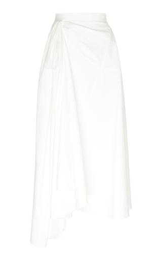 Rosie Assoulin Asymmetric Cotton-poplin Midi Skirt In White