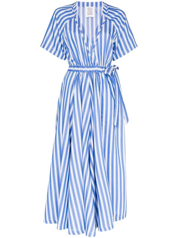 Rosie Assoulin Striped Cotton-poplin Wrap Dress In Blue