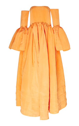 Rosie Assoulin Women's Ruffled Off-the-shoulder Silk-blend Gown In Orange