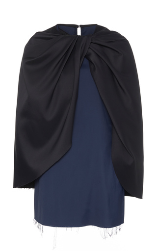 Marina Moscone Ruched Cape-effect Satin Top In Navy